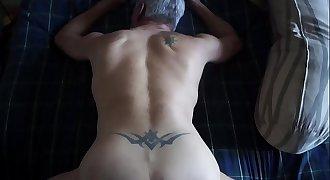 Daddy drains my balls w/his butt