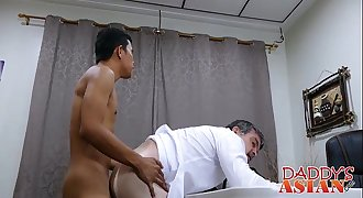 Asian twink Alex and Daddy having a assfuck sex in a office