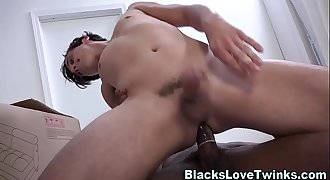 Black dude drilling twink